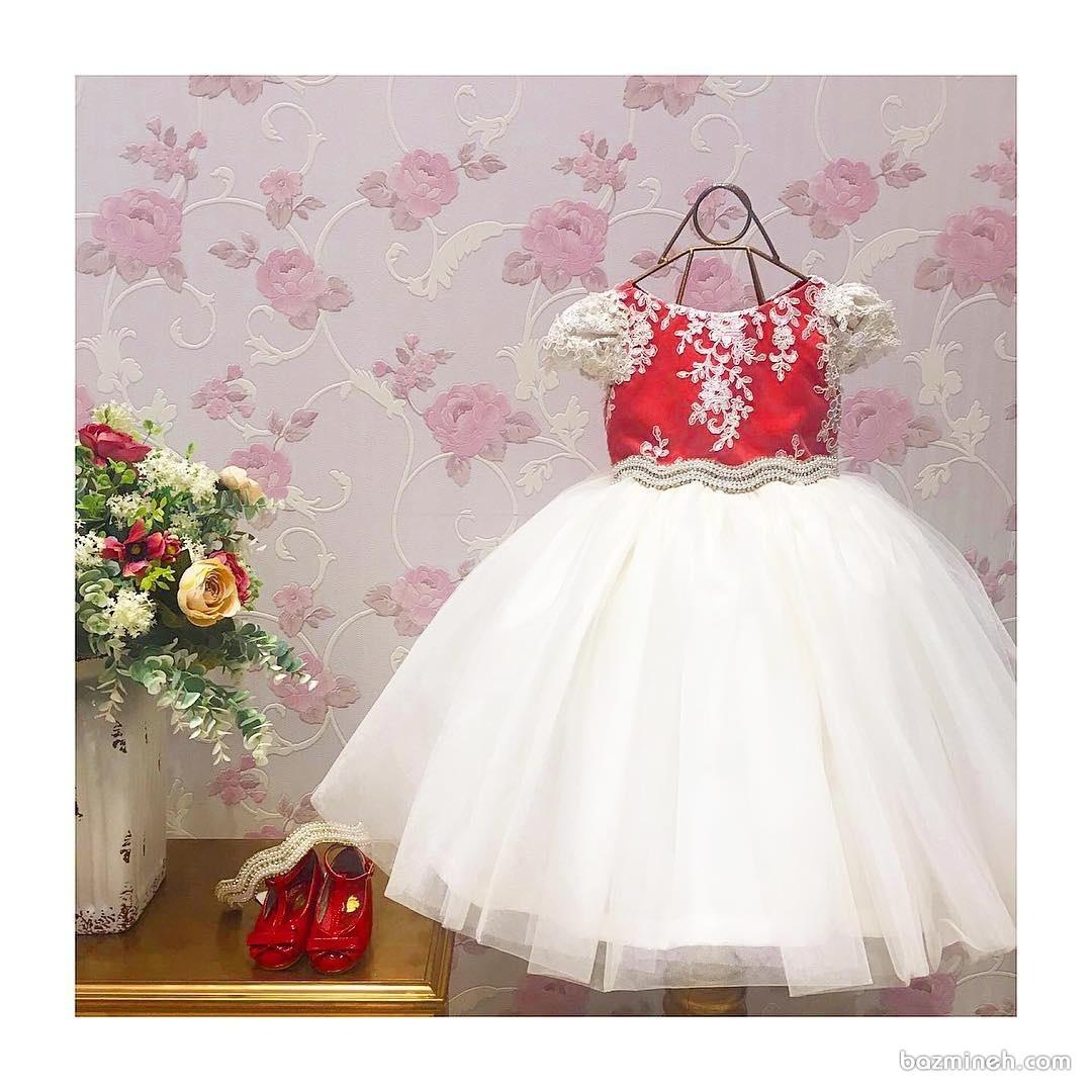 لباس دخترانه قرمز و سفید مناسب تولد