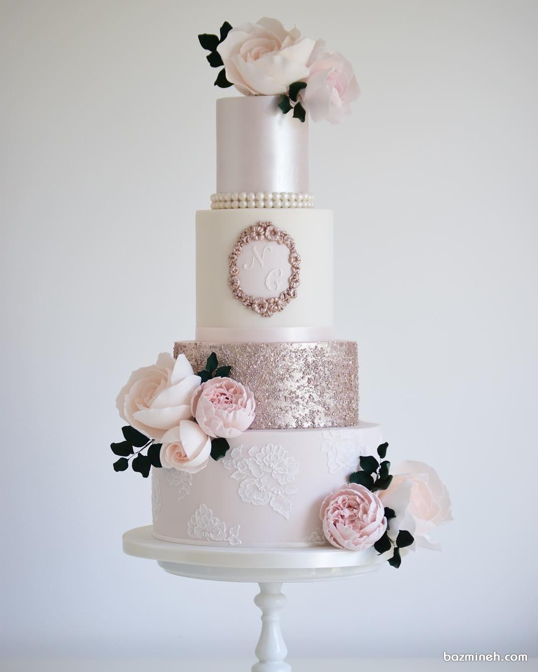 کیک زیبا برای عروسی با تم کلاسیک ساده