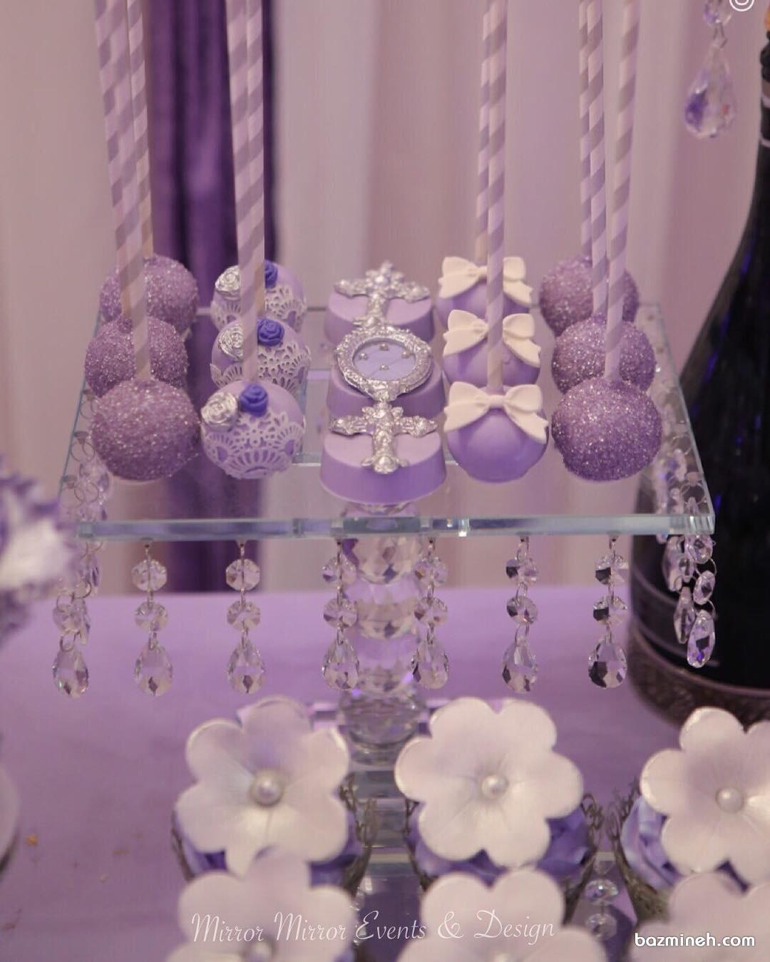 پاپ کیک های بنفش مناسب تولد یا نامزدی با تم بنفش