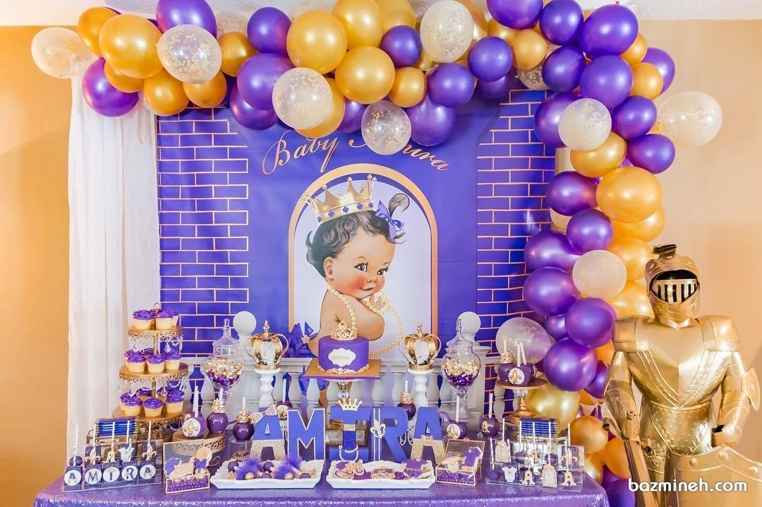 دکوراسیون جشن بیبی شاور با تم طلایی و بنفش