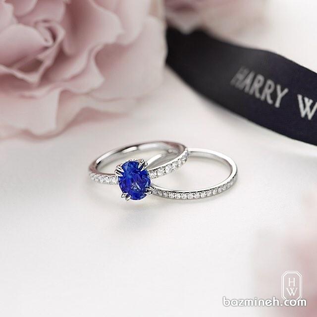 انگشتر یاقوت کبود و پشت حلقه ظریف برای عروس خانم های با سلیقه