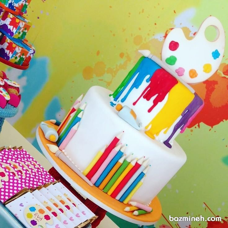 ایده کیک جشن تولد با تم مداد رنگی و رنگ روغن