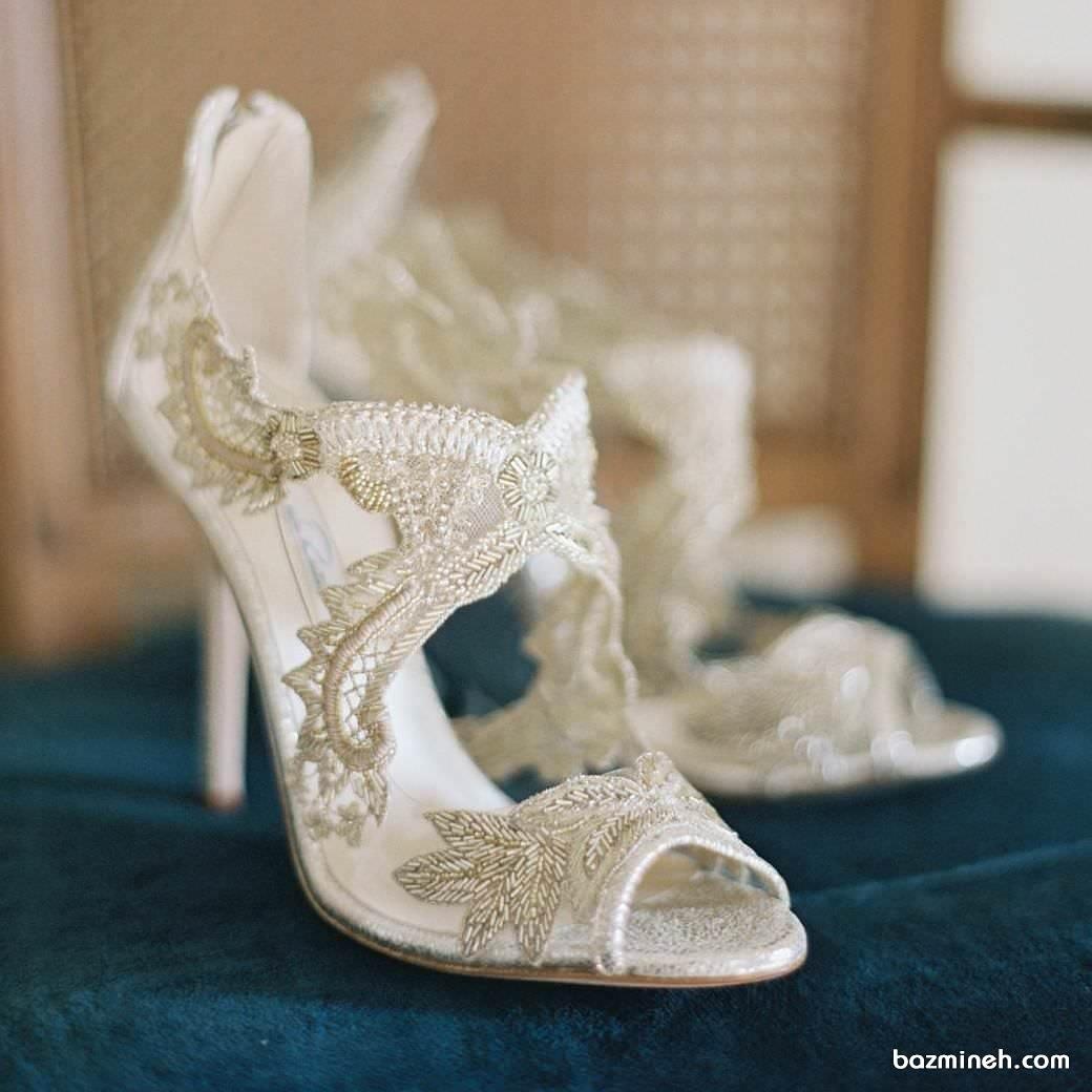 کفش توری سفید مناسب برای عروس خانم ها