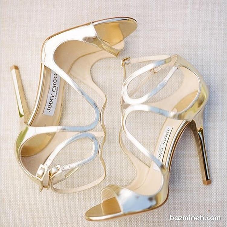 کفش پاشنه بلند طلایی مناسب برای جشن نامزدی