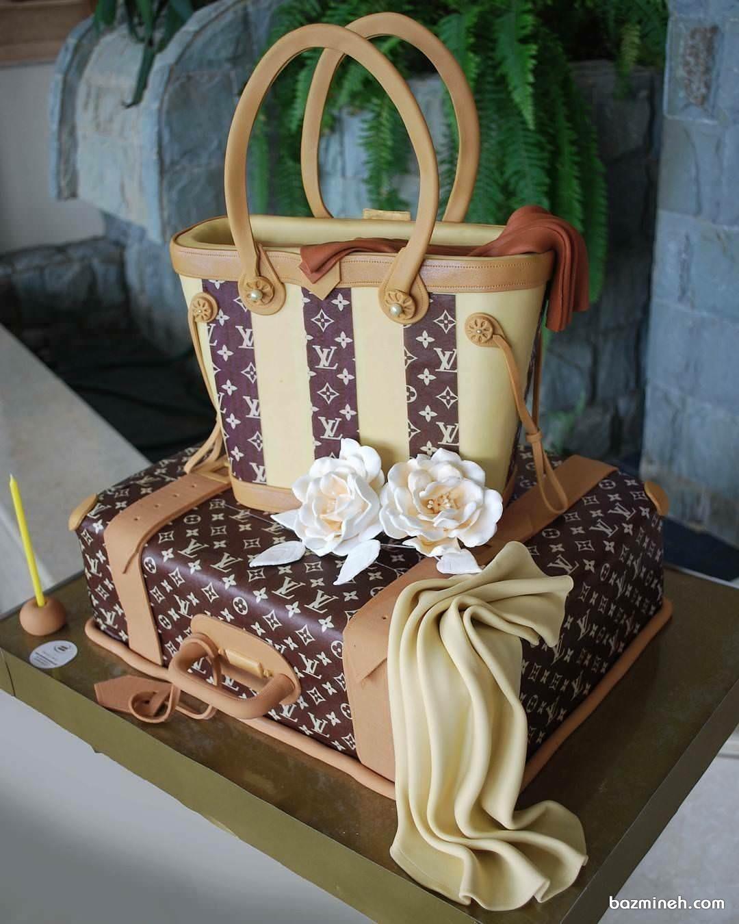 ایده جالب کیک تولد به شکل کیف و چمدان برند ال وی