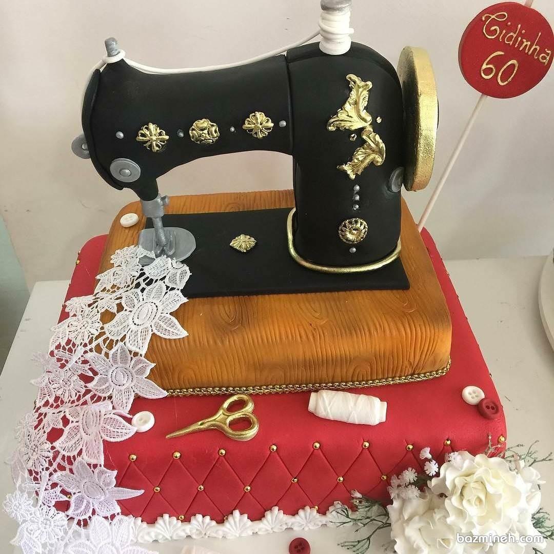 ایده کیک جشن تولد شصت سالگی به شکل چرخ خیاطی مناسب برای مامان های مهربون