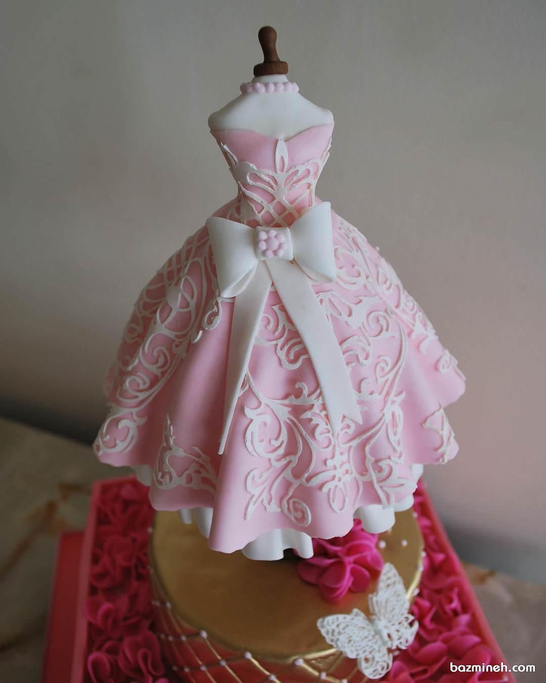 مینی کیک با طرح پیراهن دخترانه