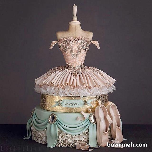 کیک زیبای جشن تولد به شکل لباس باله