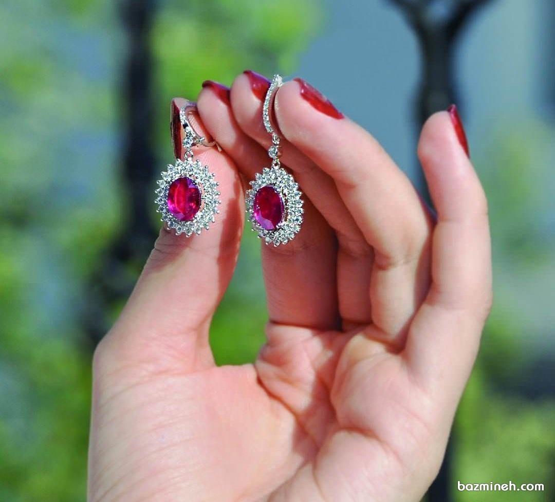 گوشواره یاقوت قرمز برای عروس خانم ها