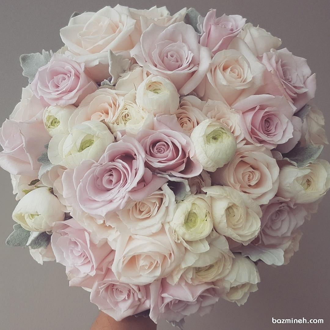 دسته گل زیبای عروس با گلهای رز و صد تومنی