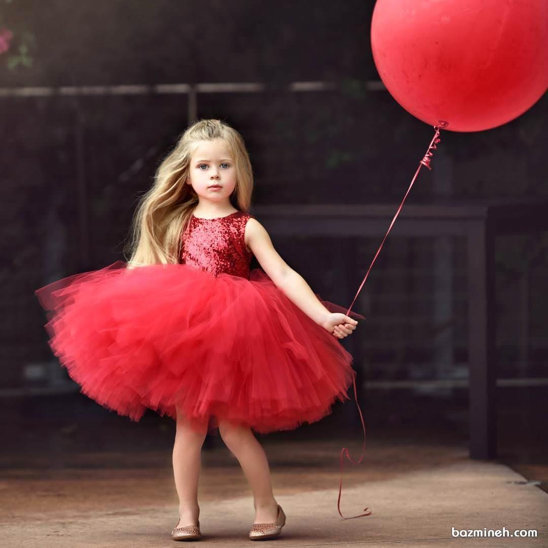 پیراهن پفی قرمز دخترانه مناسب برای جشن تولد کوچولوها