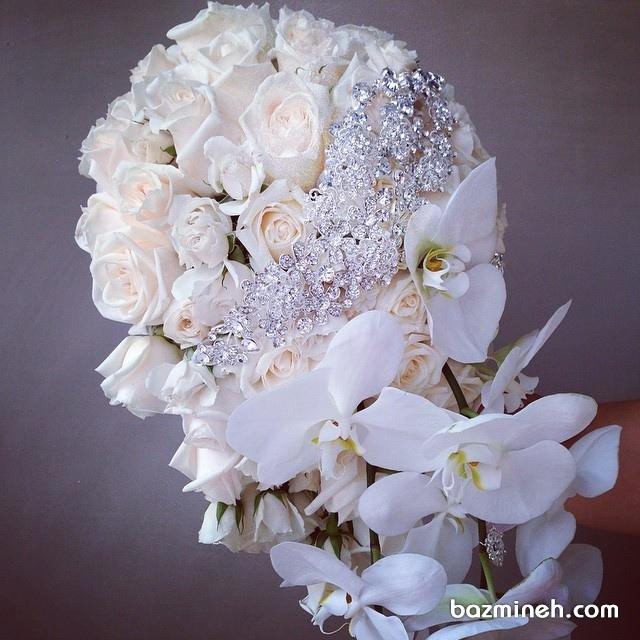 دسته گل سفید عروس با نگین