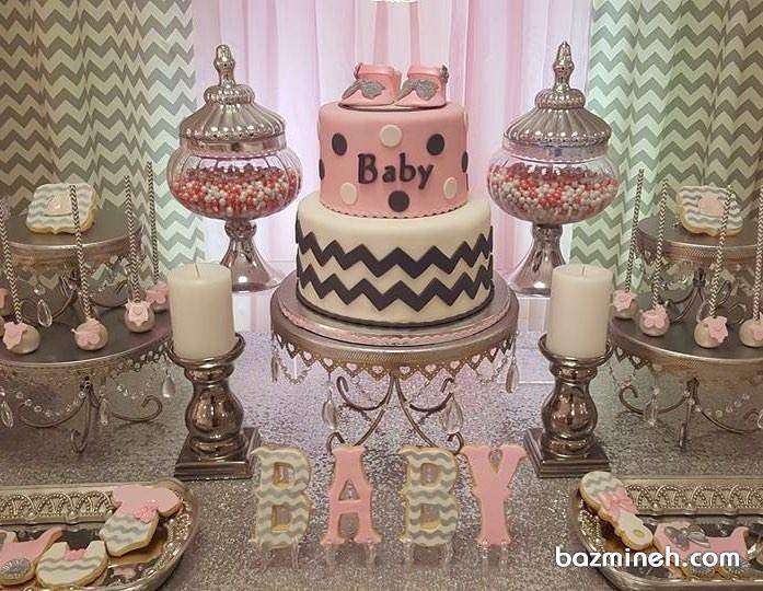 دیزاین میز شیرینی جشن بیبی شاور دخترانه