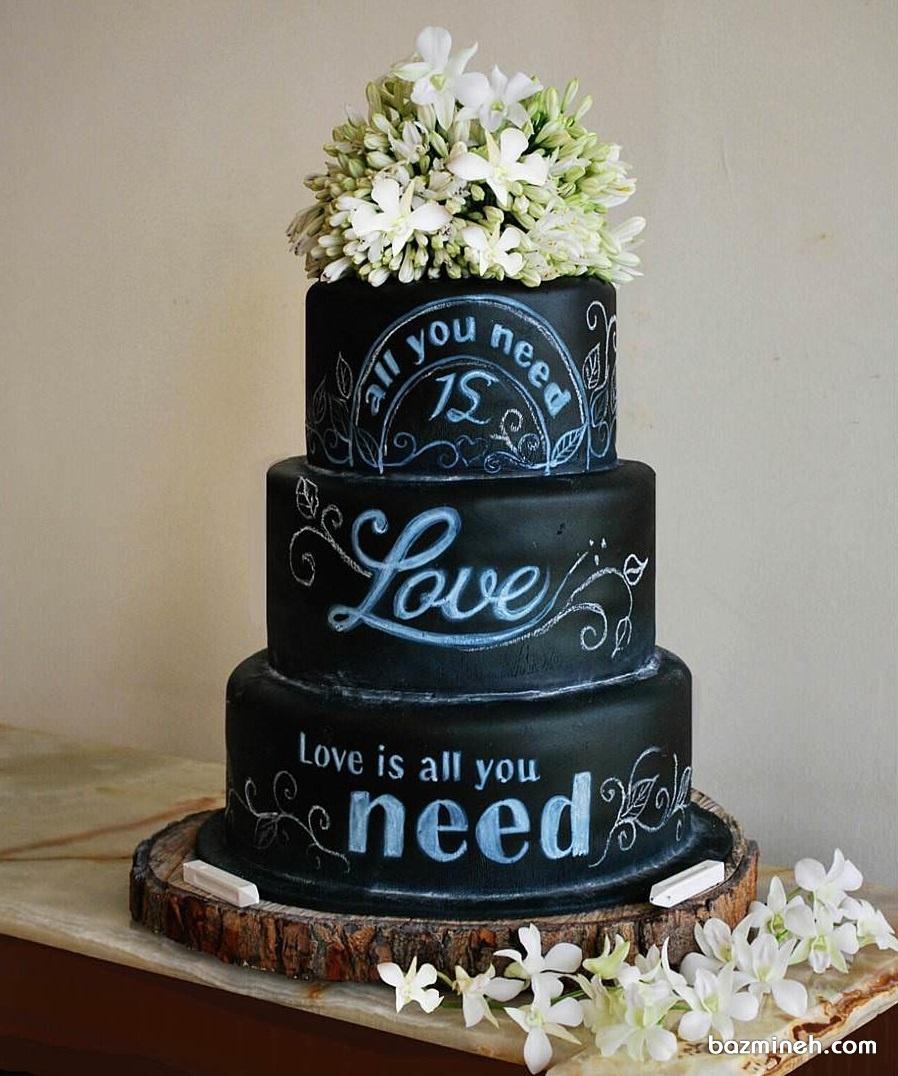 ایده جالب کیک جشن عروسی یا نامزدی به شکل تخته سیاه