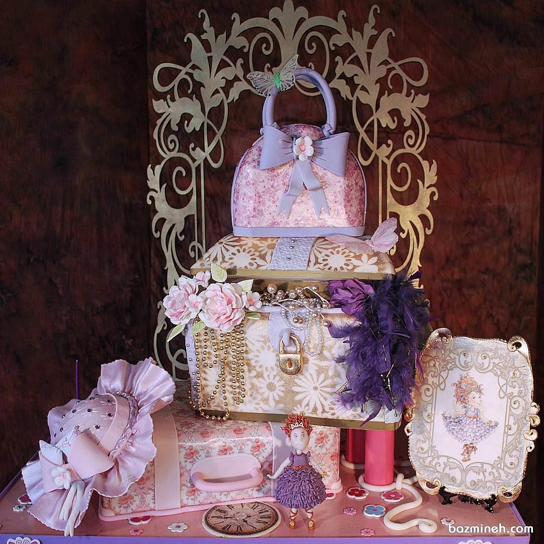 کیک جالب جشن تولد دخترونه با طرح کیف و صندوقچه