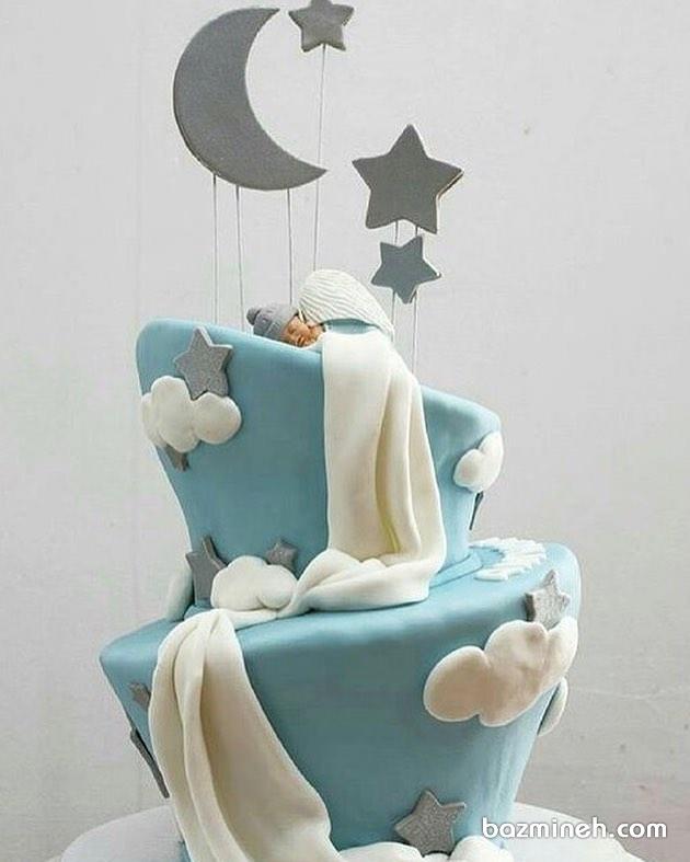 کیک جشن بیبی شاور پسرانه با تم ماه و ستاره