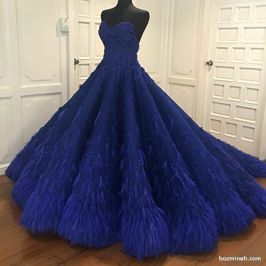 لباس باشکوه جشن نامزدی به رنگ آبی کاربنی