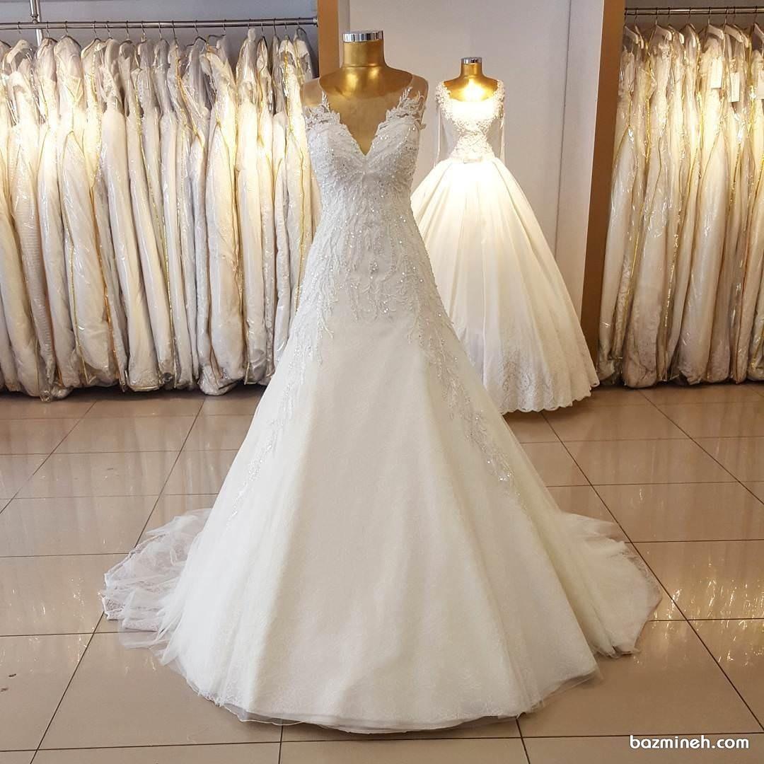 لباس عروس شیک دنباله دار با بالاتنه ی سنگ دوزی شده