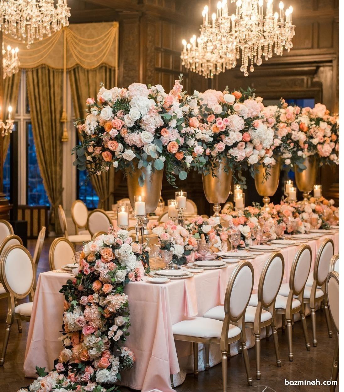 دکوراسیون و گل آرایی شیک میز پذیرایی جشن عروسی