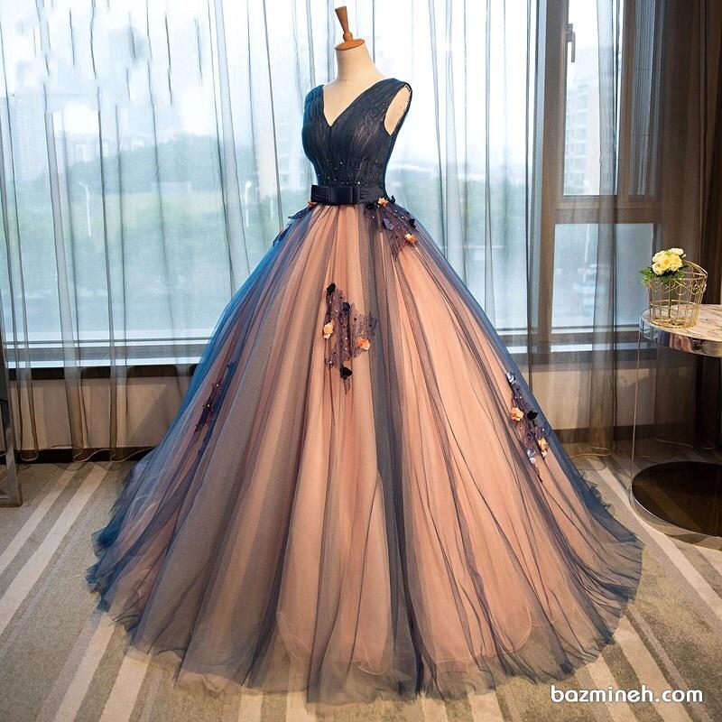 لباس مجلسی بلند زنانه با دامن پفی توری مناسب برای جشن نامزدی