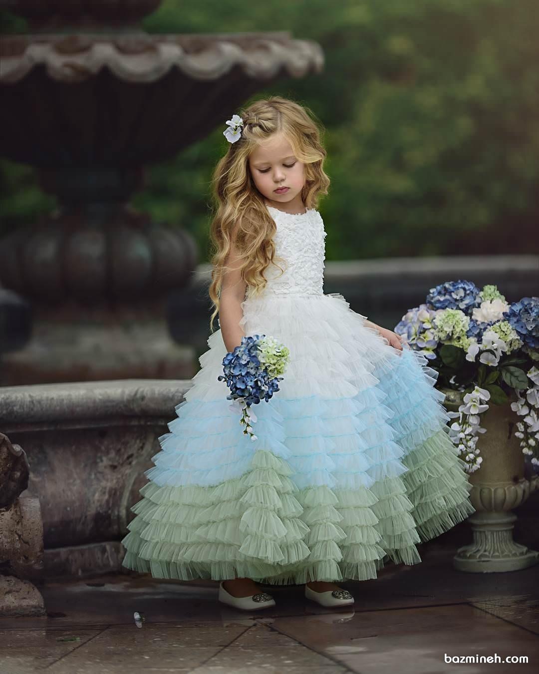 لباس مجلسی بلند سفید آبی دخترانه مناسب برای کودکان ساقدوش عروس (Flower Girl)