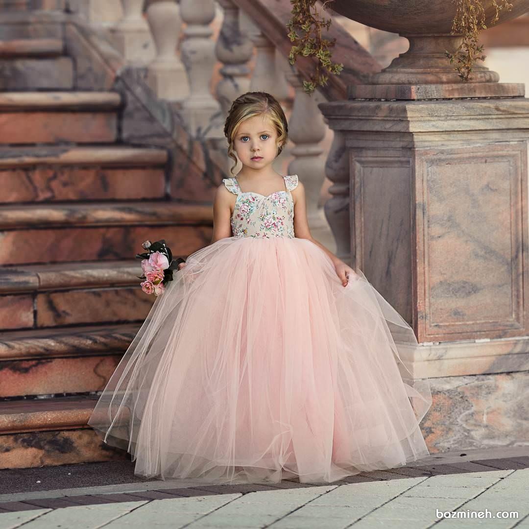 لباس مجلسی کودک با دامن پفی بلند مناسب برای کودکان ساقدوش عروس (Flower Girl)