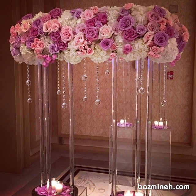 ایده متفاوت برای گل آرایی مجالس باشکوه با کریستال های زیبا و شمع