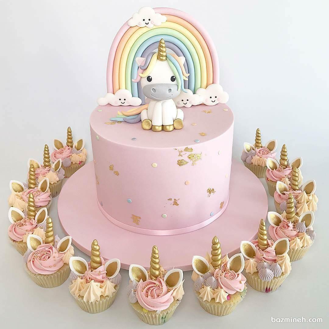 مینی کیک و کاپ کیک های فانتزی جشن تولد دخترانه با تم اسب تک شاخ (Unicorn)