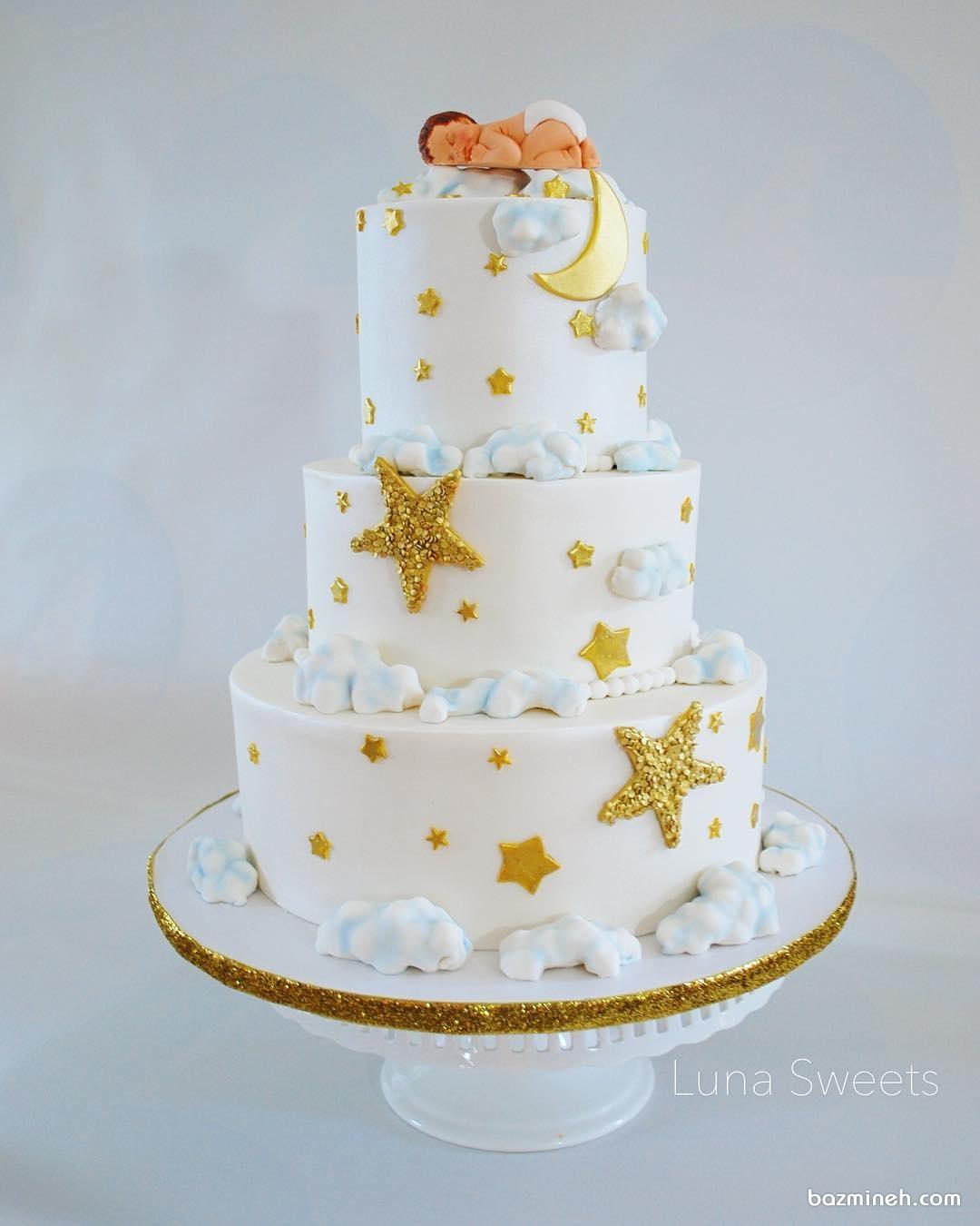 کیک سه طبقه جشن بیبی شاور با تم ماه و ستاره