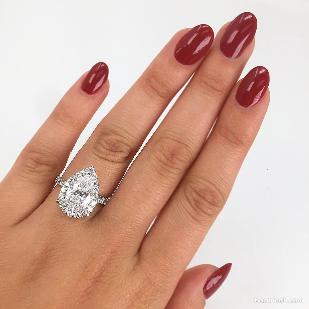 حلقه نامزدی زیبا و شیک الماس با برش پییِر (Pear)
