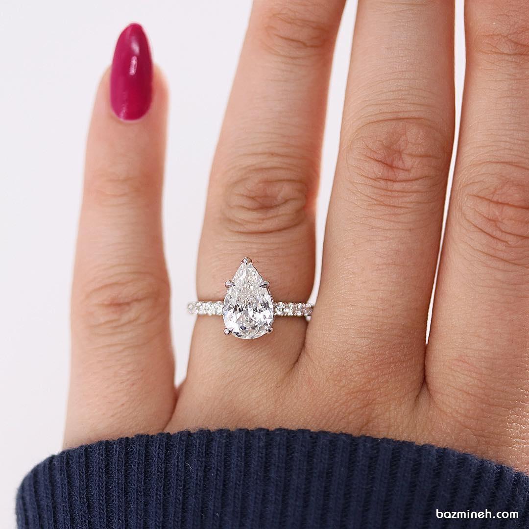 حلقه ظریف نامزدی الماس با برش پییِر (Pear) مناسب عروس خانم های خوش سلیقه