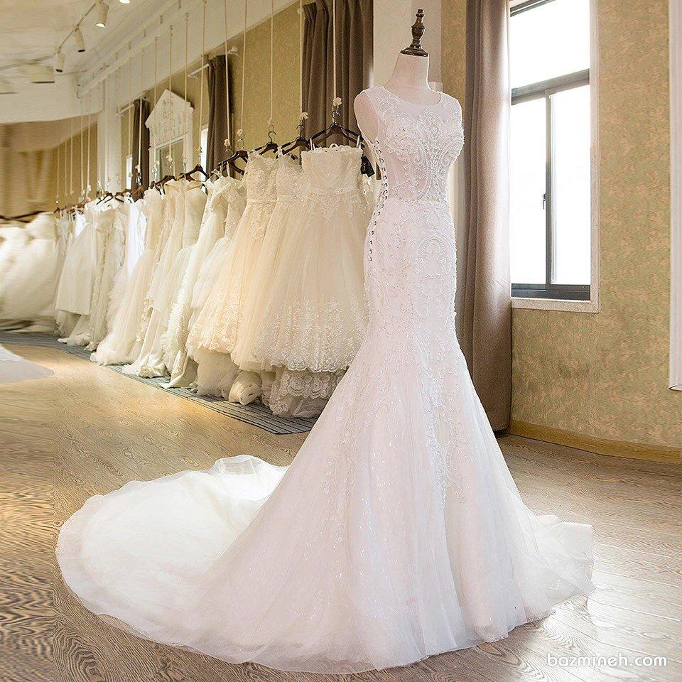لباس عروس شیک و زیبا با دامن مدل ماهی دنباله دار
