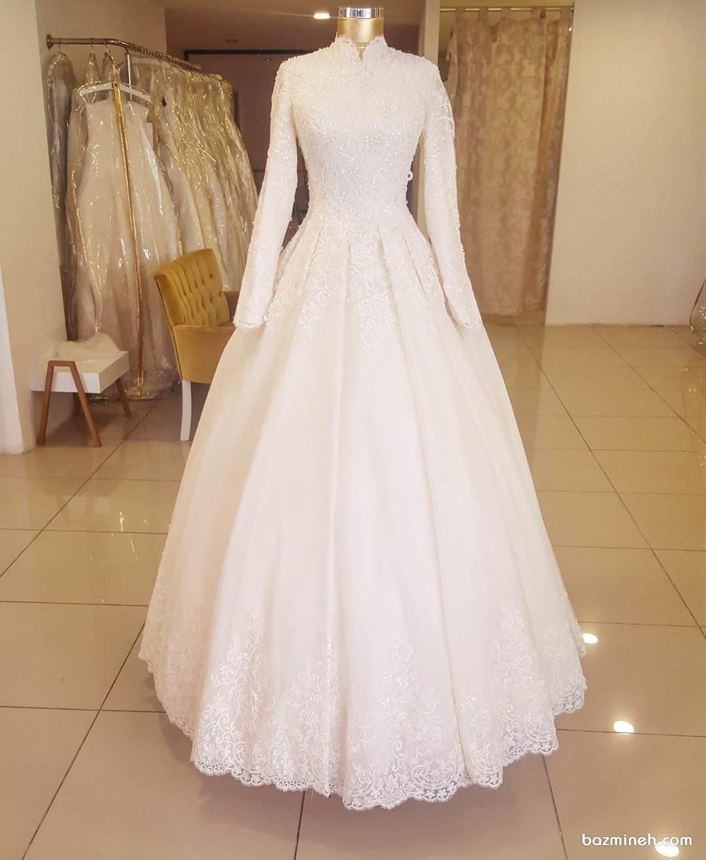 لباس عروس شیک و پوشیده آستین دار مناسب برای عروس خانم های محجبه