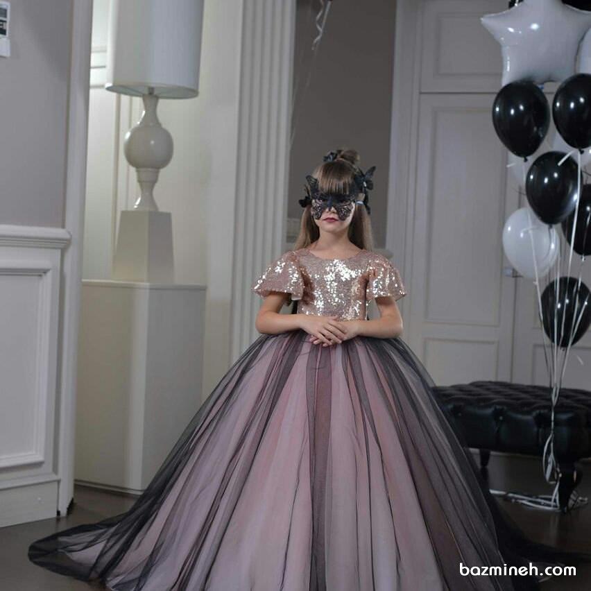 لباس مجلسی دخترانه با دامن پفی بلند توری مشکی صورتی مناسب برای جشن تولد پرنسس کوچولوها
