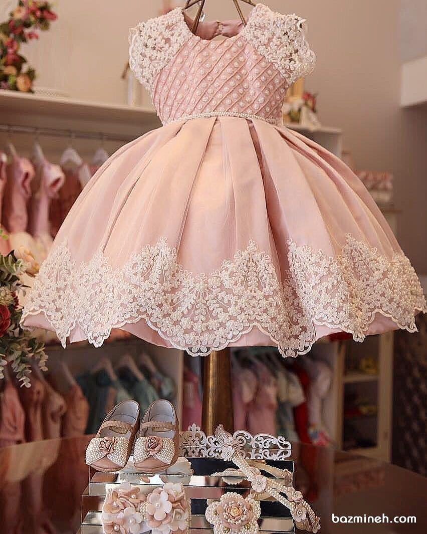 لباس مجلسی کودک با دامن پفی کوتاه همراه با کفش پاپیون دار و تل ست لباس مناسب برای جشن تولد خانم کوچولوها