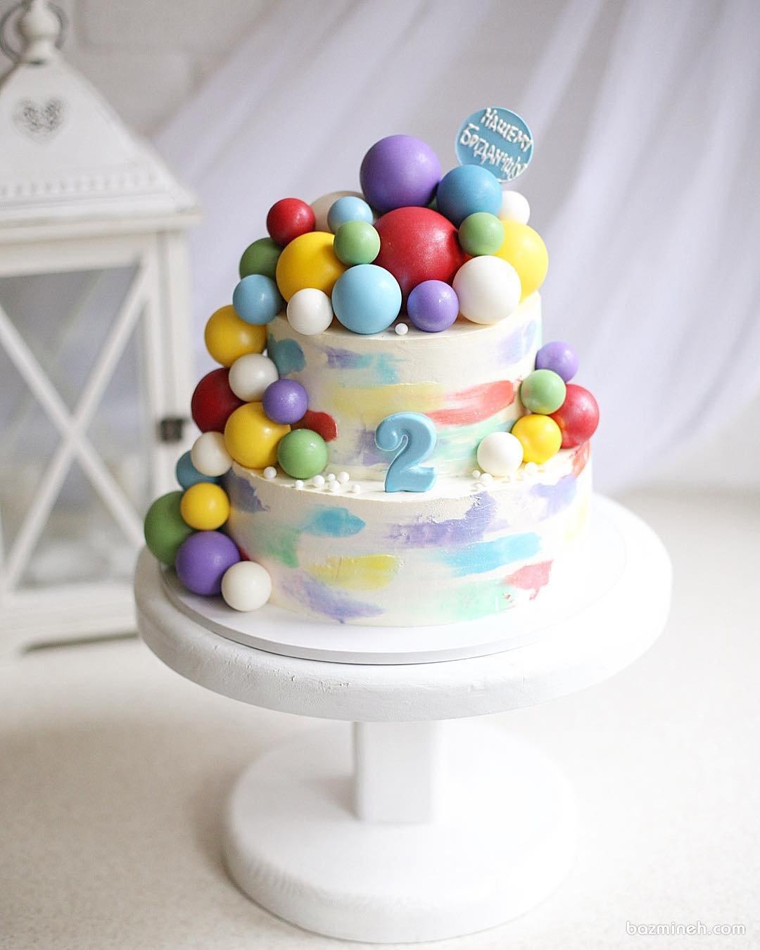 مینی کیک بامزه جشن تولد کودک با تم توپ های رنگی