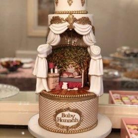 کیک فوندانت جشن بیبی شاور با طرحی متفاوت