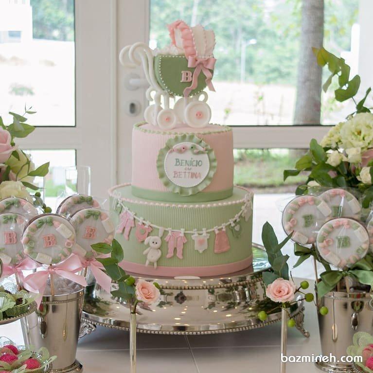 کیک زیبای جشن بیبی شاور با تم صورتی سبز