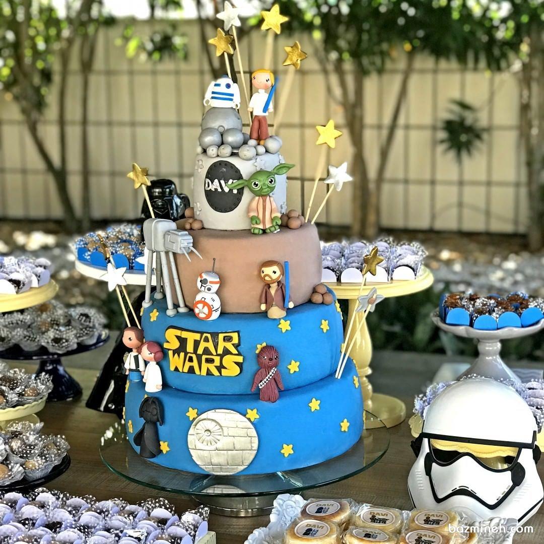 کیک چند طبقه جشن تولد پسرانه با تم جنگ ستارگان (Star Wars)