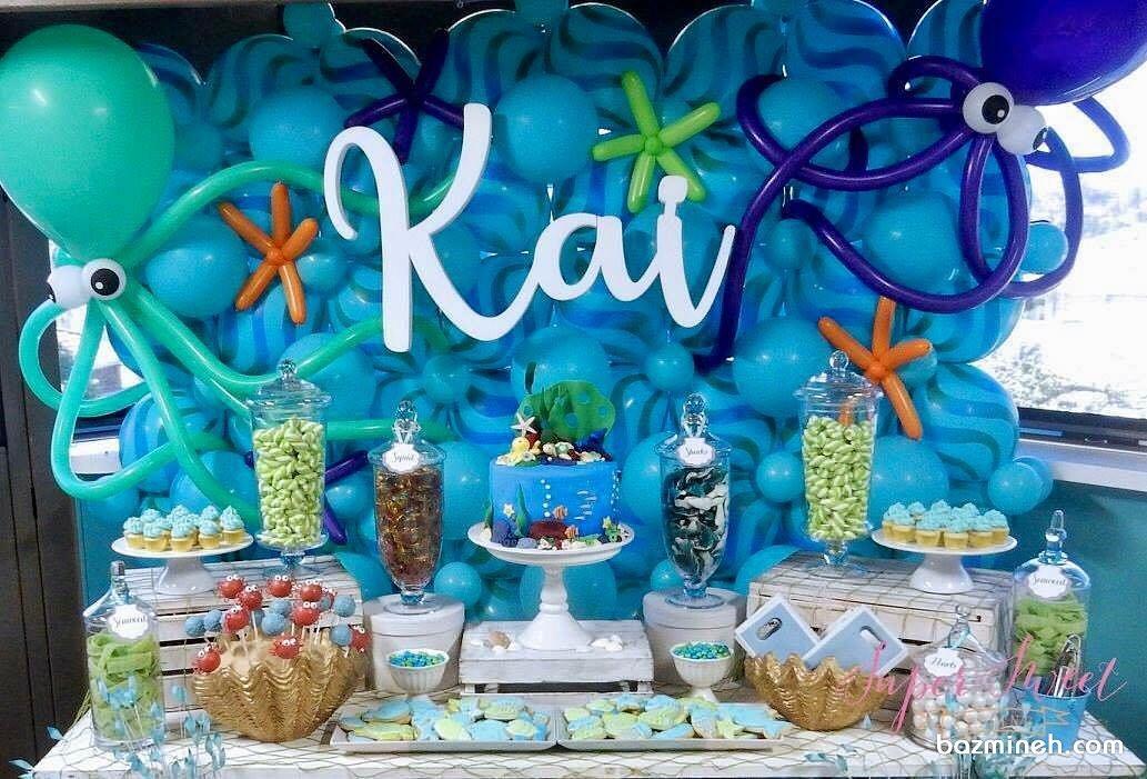 دکوراسیون و بادکنک آرایی جالب جشن تولد کودک با تم موجودات دریایی و ایده درست کردن هشت پا با بادکنک