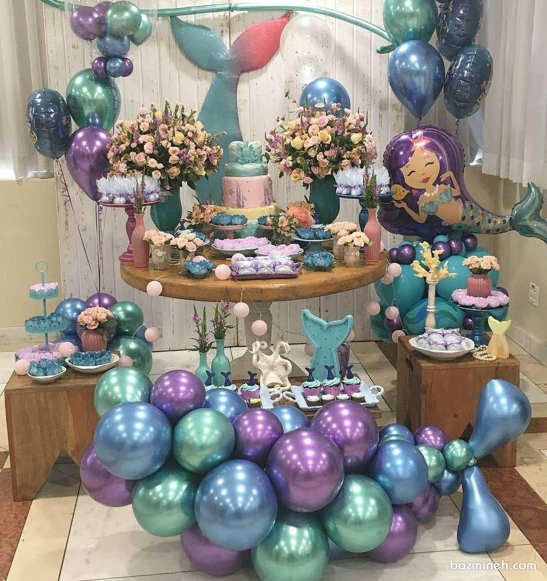 دکوراسیون و بادکنک آرایی جشن تولد دخترونه با تم پری دریایی (Mermaid)
