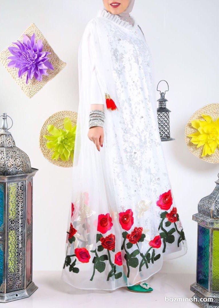 مانتو عقد زیبای بلند سفید رنگ با حاشیه گلدار