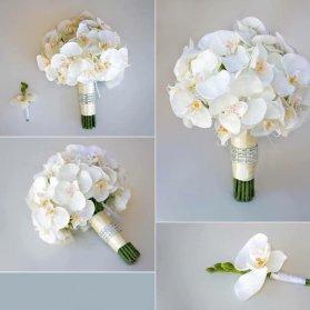 دسته گل سفید و زیبا مناسب عروس خانم ها با تم کلاسیک
