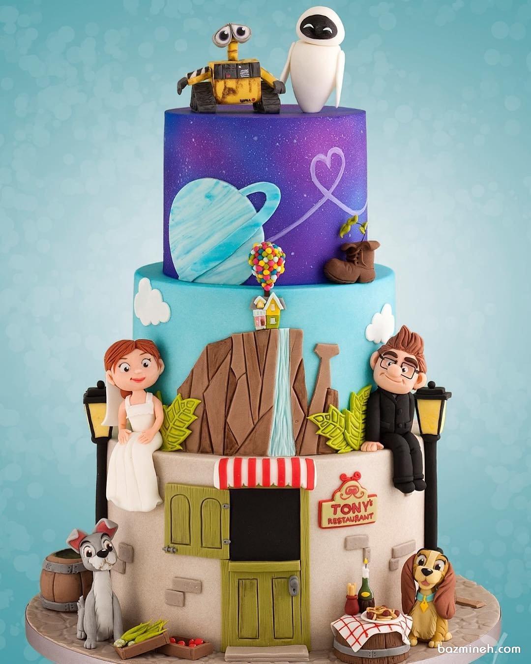 کیک فوندانت جشن تولد کودک با تم کارتونی