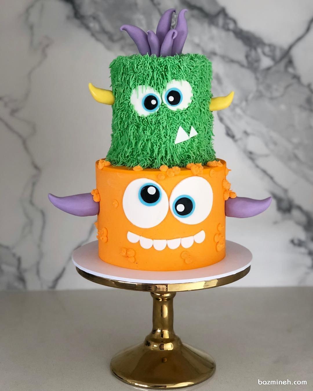 کیک بامزه جشن تولد کودک با تم میکروب ها