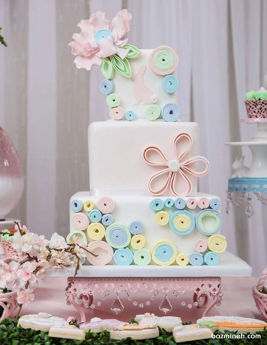 کیک چند طبقه فانتزی جشن تولد دخترانه با تم گلبهی آبی