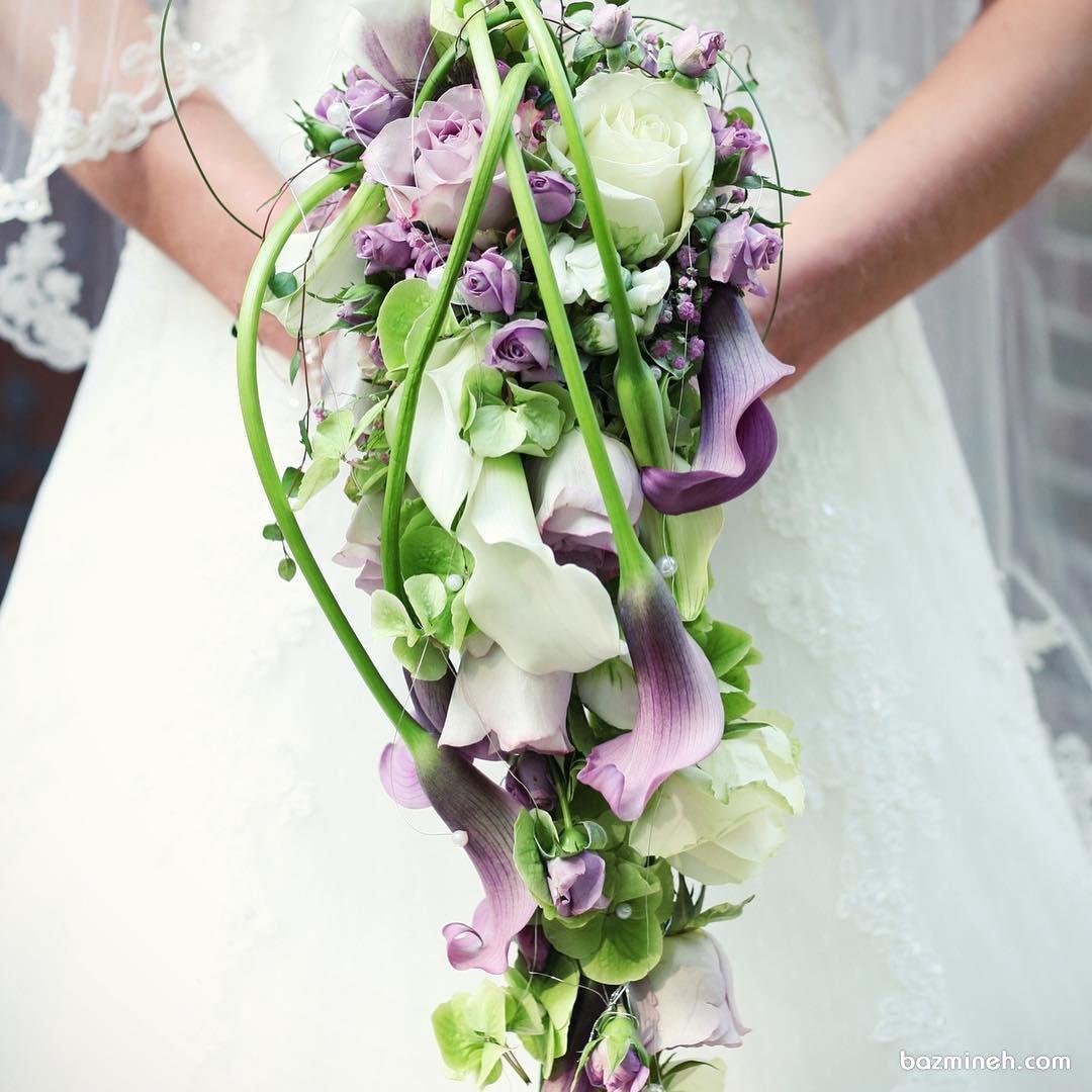 دسته گل شیک و خاص آبشاری مناسب عروس خانم ها با استایل یونیک