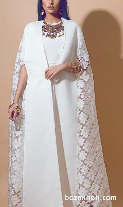 مانتو عقد بلند سفید جلوباز با آستین های توری مناسب برای عروس خانم های شیک پسند