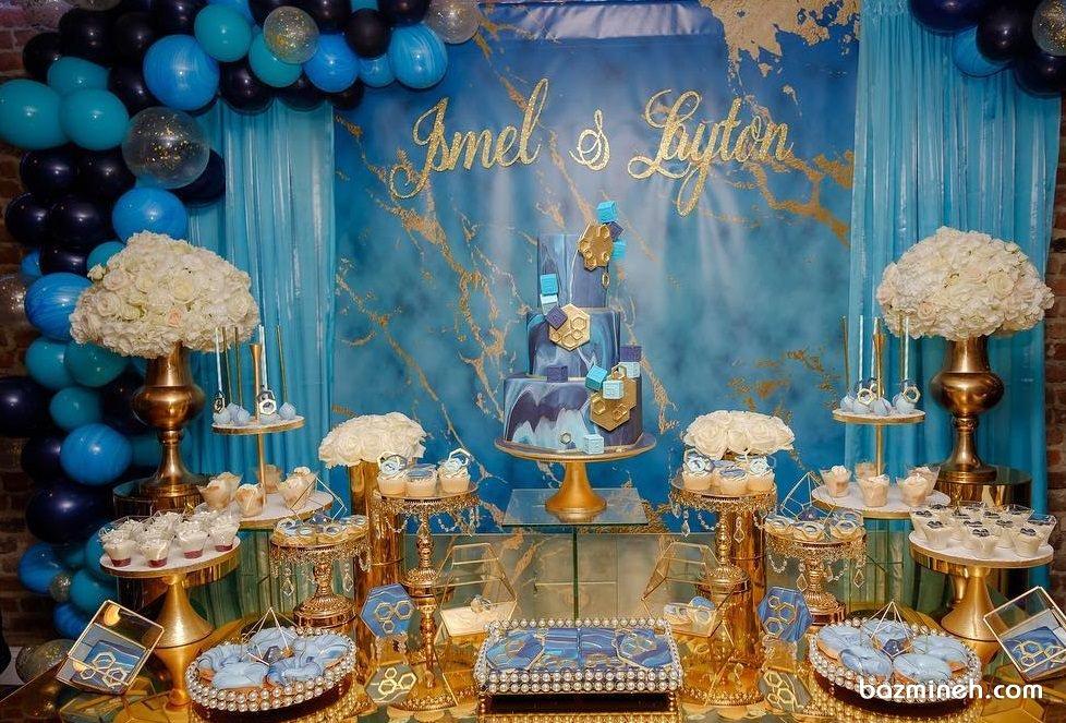دکوراسیون و بادکنک آرایی شیک جشن تولد با تم آبی طلایی