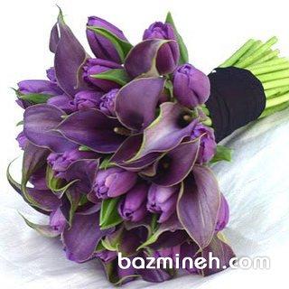 دسته گل نامزدی با گلهای خاص بنفش